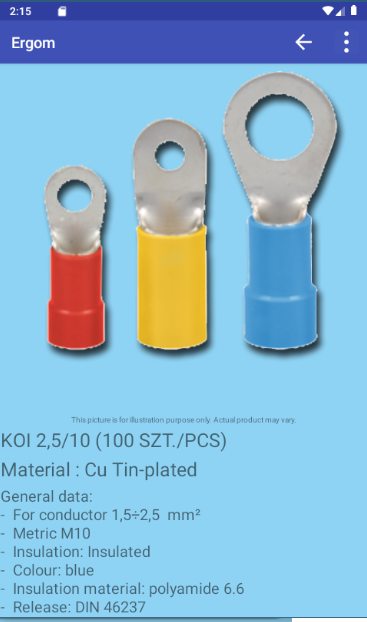 Product image and technical data