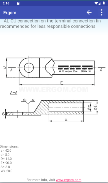 All products have technical drawings available in this app