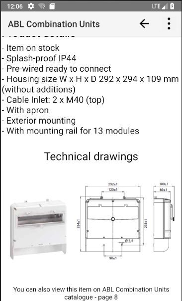 All technical detail of selected unit