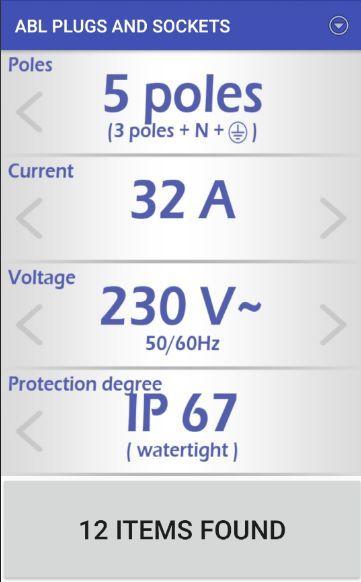 Main screen used to select plug characteristics